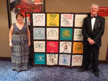 Quilt formed of T-shirts for the 20th anniversary